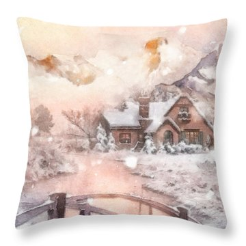 Frosty Creek Throw Pillow by Mo T