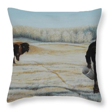 Frosty Feeding Throw Pillow