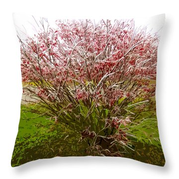 Frosty Fire Bush Throw Pillow