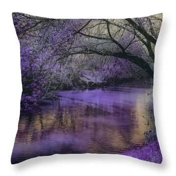 Frosty Lilac Wilderness Throw Pillow