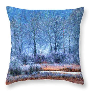 Throw Pillow featuring the digital art Frosty Morning At The Marsh Photo Art by Sharon Talson