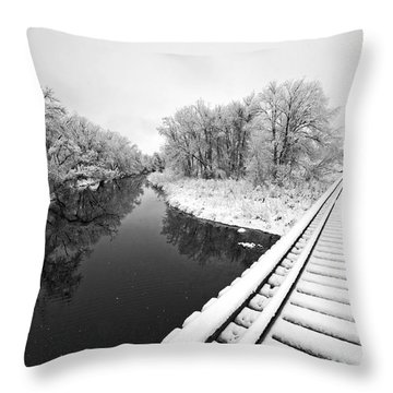 Frosty Morning On The Poudre Throw Pillow by James Steele