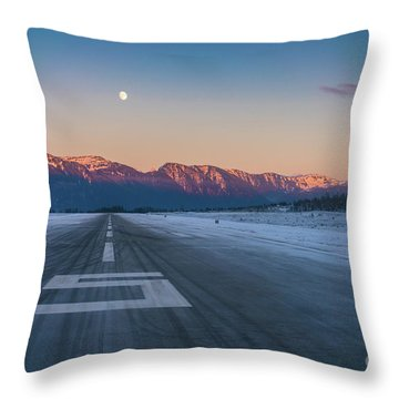 Frosty Petersburg Runway And Full Moon Throw Pillow