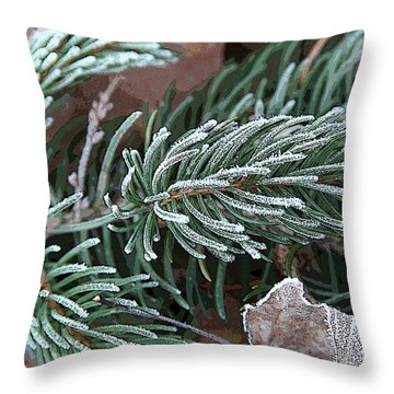Frosty Pine Branch Throw Pillow