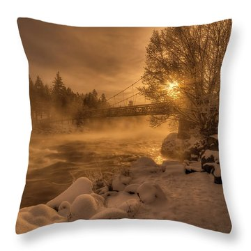 Frosty Riverside Throw Pillow