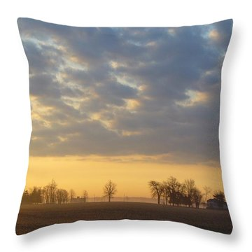 Frosty Spring Sunrise Throw Pillow