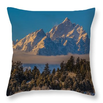 Throw Pillow featuring the photograph Frosty Teton Sunrise by Yeates Photography
