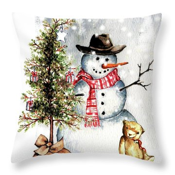 Frosty The Snowman Greeting Card Throw Pillow by Heidi Kriel