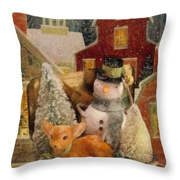 Frosty The Snowman Throw Pillow by Mo T