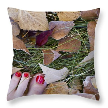 Frosty Toes Throw Pillow