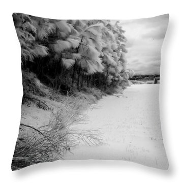 Frosty Treeline Throw Pillow