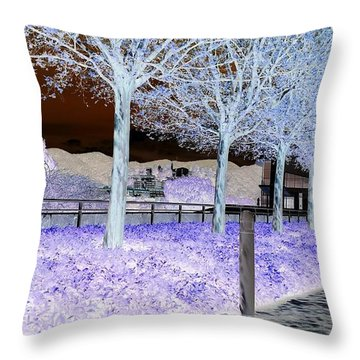 Frosty Trees At The Getty Throw Pillow