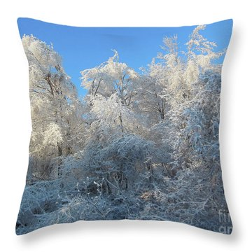 Frosty Trees Throw Pillow