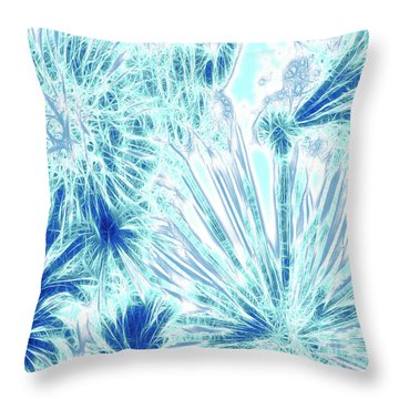 Throw Pillow featuring the digital art Frozen Blue Ice by Methune Hively