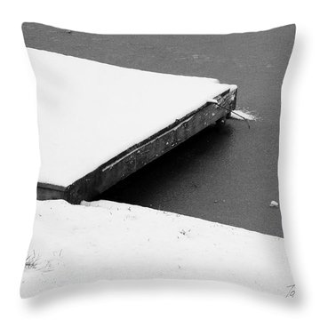 Frozen Dock Throw Pillow