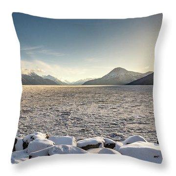 Frozen Fjord Sunrise Throw Pillow