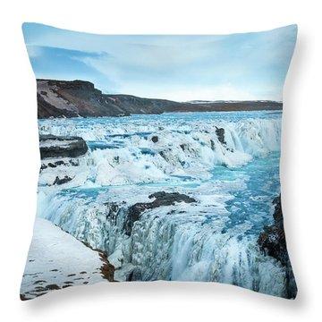 Frozen Gullfoss Throw Pillow