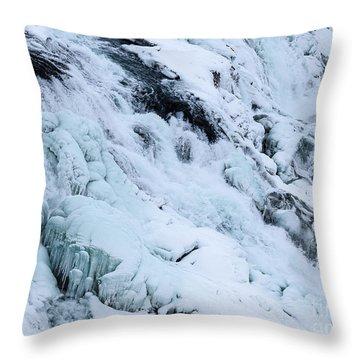 Frozen Gullfoss In Winter Throw Pillow