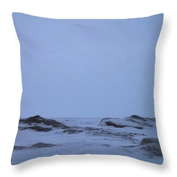 Frozen Lake Erie Throw Pillow by Kimberly  W