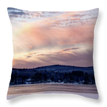 Frozen Lake Sunset In Wilton Maine  -78096-78097 Throw Pillow