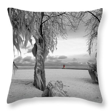 Throw Pillow featuring the photograph Frozen Landscape Of The Menominee North Pier Lighthouse by Mark J Seefeldt