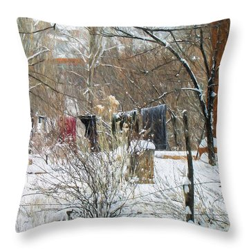 Frozen Laundry Throw Pillow