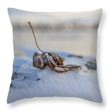 Frozen Leaf On Lake Reno Throw Pillow