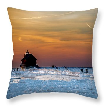 Frozen Lighthouse Throw Pillow