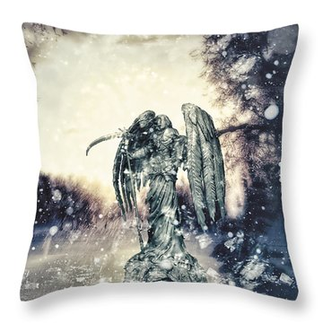 Frozen Throw Pillow by Mo T