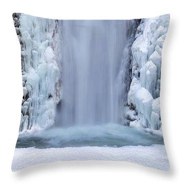 Frozen Multnomah Falls Closeup Throw Pillow by David Gn