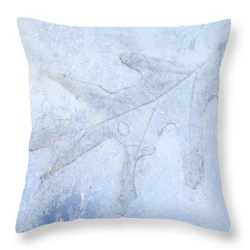 Frozen Oak Leaf Imprint Throw Pillow by Kathy M Krause