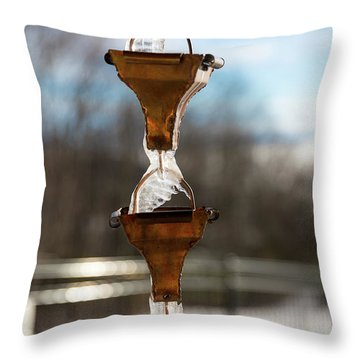 Frozen Rain Chains Throw Pillow