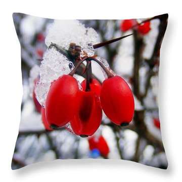 Frozen Red Berries Throw Pillow