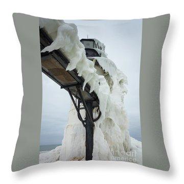 Frozen St. Joseph Outer Lighthouse Throw Pillow