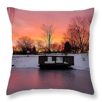 Frozen Sunrise Throw Pillow by Frozen in Time Fine Art Photography
