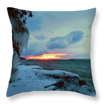 Frozen Sunset In Cape Vincent Throw Pillow