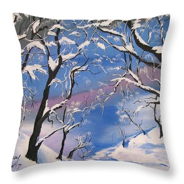 Throw Pillow featuring the painting Frozen Tranquility  by Sharon Duguay