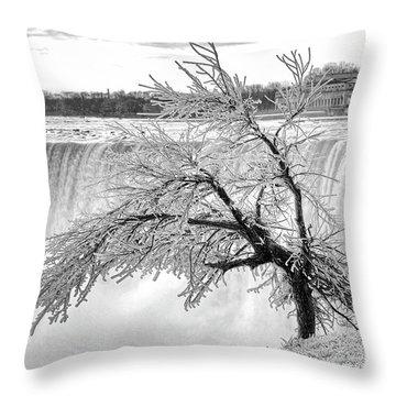 Frozen Tree Near Niagara Falls Throw Pillow by Alex Galkin