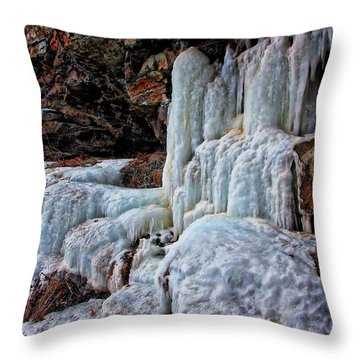 Frozen Waterfall Throw Pillow by Suzanne Stout