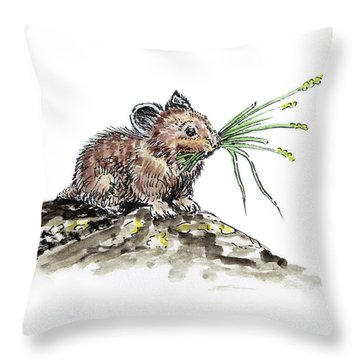 Throw Pillow featuring the painting Frugal Mr Mouse  by Irina Sztukowski