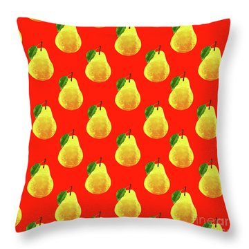 Fruit 03_pear_pattern Throw Pillow by Bobbi Freelance