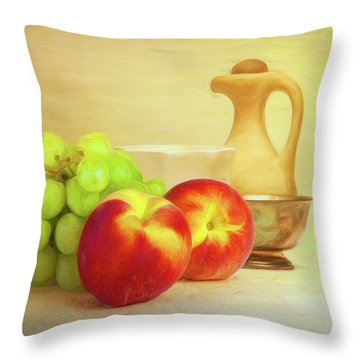Fruit And Dishware Still Life Throw Pillow