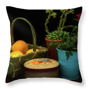 Fruit And Flowers Still Life Digital Painting Throw Pillow