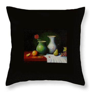 Fruit And Pots. Throw Pillow