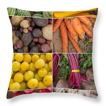 Fruit And Vegetable Collage Throw Pillow