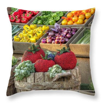 Fruit And Veggie Display Throw Pillow