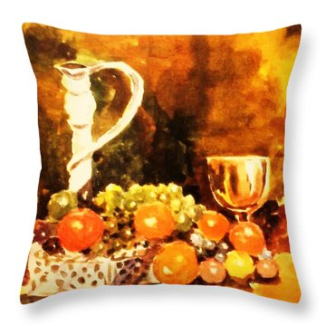 Throw Pillow featuring the painting Fruit, Candelabrum And Goblet by Al Brown