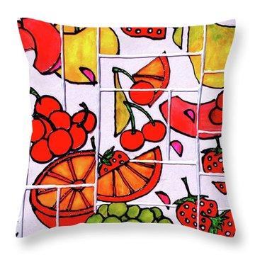 Fruit Fractals Throw Pillow by Farah Faizal