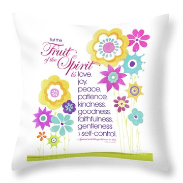 Throw Pillow featuring the mixed media Fruit Of The Spirit by Shevon Johnson
