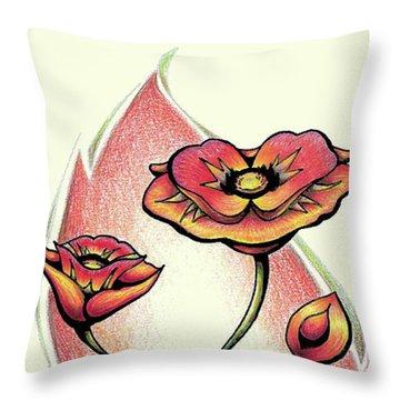Vibrant Flower 1 Poppy Throw Pillow